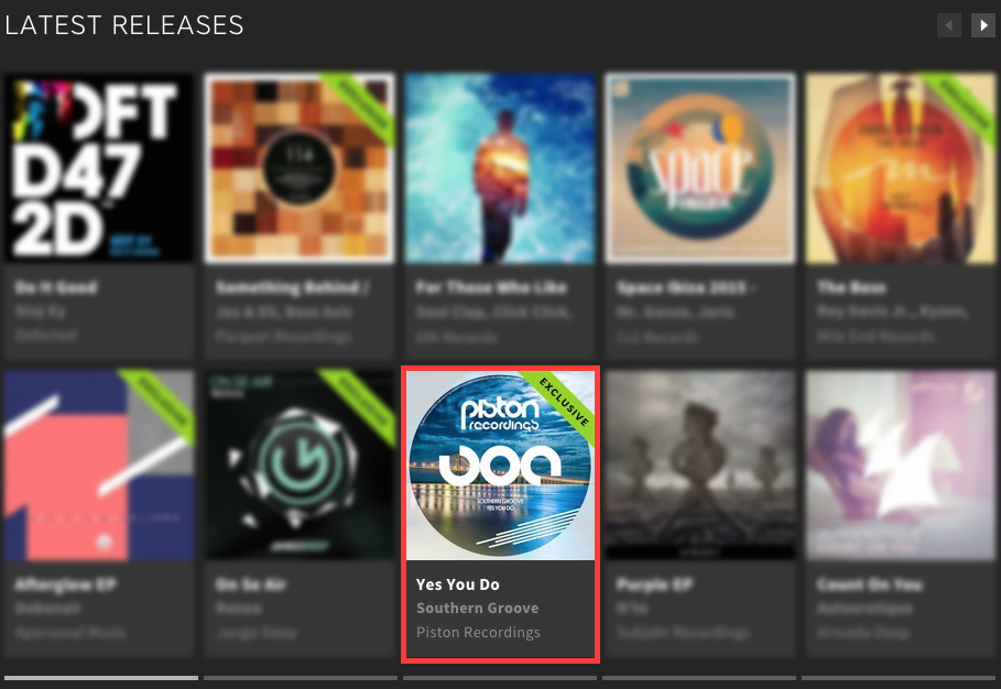 SOUTHERN GROOVE – YES YOU DO FEATURED BY BEATPORT