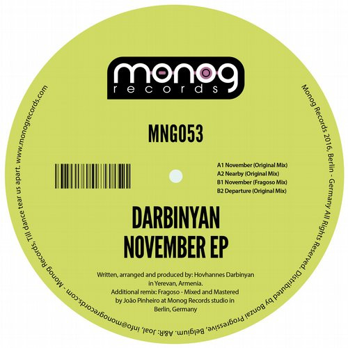DARBINYAN – NOVEMBER EP (MONOG RECORDS)